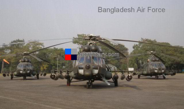 Mi-171Sh combat transports of the Bangladesh Air Force - enough weaponry to arm a Mi-24 Hind gunship