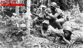 Biafran troops in action