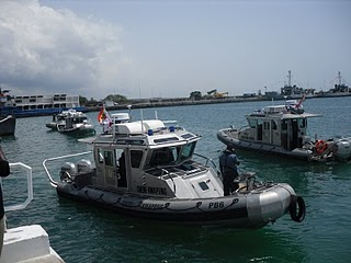 Ghana Navy RBS Defender boats. A total of four units were presented to the Ghana Navy.