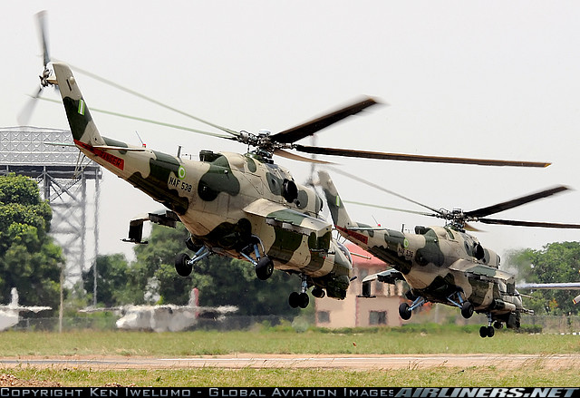 Mi-35P(front,30mm cannons on right side) and Mi-24V(behind,23mm cannons in the nose) at the AIR EXPO
