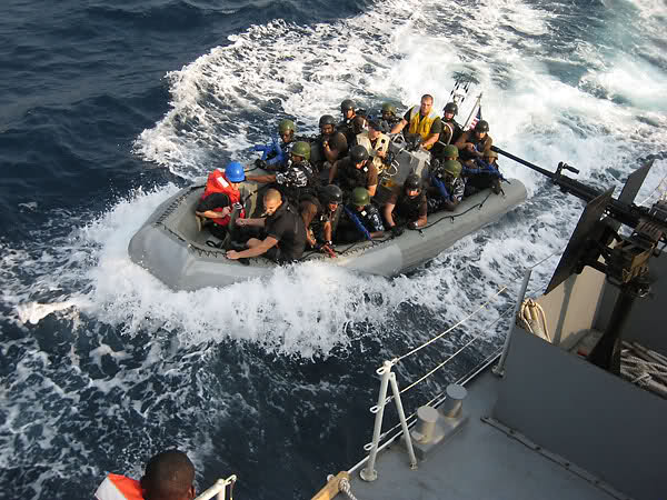 NIGERIAN NAVY SBS participate in a joint sea training exercise with US Navy personnel, Feb. 2010