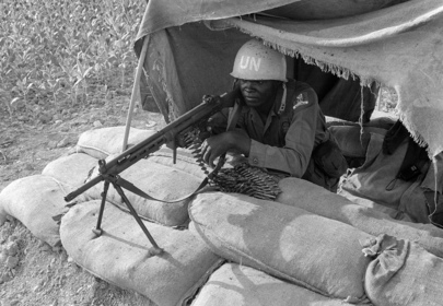 Nigerian UNIFIL soldier mans a machine gun nest, Lebanon, 1978