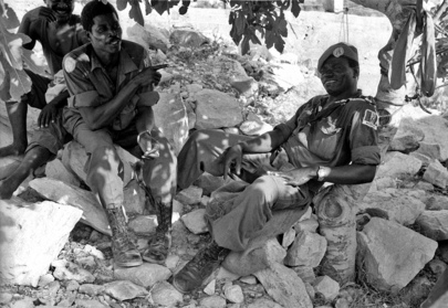 Off-duty Nigerian UNIFIL troops in Lebanon take a breather