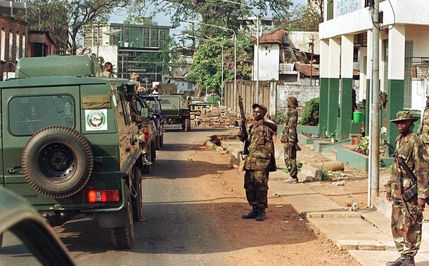 Panhard VBL recce vehicle and Pinzgauer All Terrain Vehicle on ECOMOG operations in Freetown, Sierra Leone. 1999