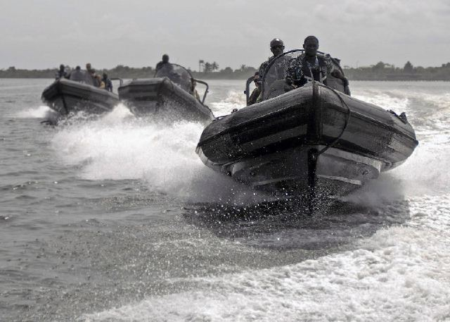 Nigerian Navy Special Boat Service commandos at a sea training exercise