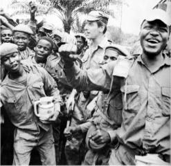 The Biafran mercenary, Taffy Williams, with Biafran troops
