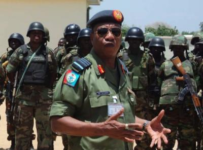 Air Chief Marshal Oluseyi Petinrin, Chief of Defence Staff addresses JSTF troops in Borno