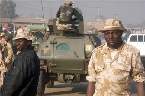 A Panhard VBL scout car of the Nigerian Army assigned to the Special Task Force - OP SAFE HAVEN