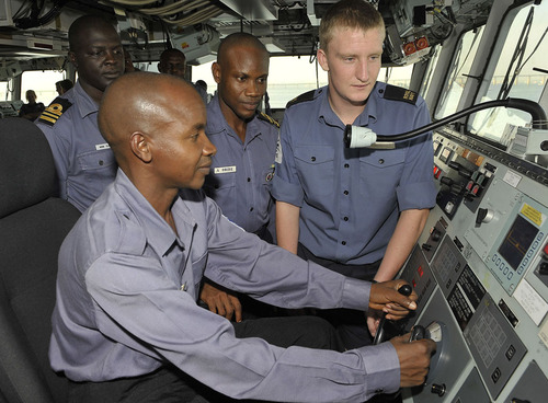 Nigerian Navy officers and ratings in joint training with the crew of HMS OCEAN