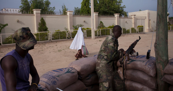 Joint Security Task Force counterinsurgency troops in Maiduguri, Borno  State, NE Nigeria