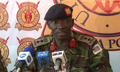 Colonel Cyrus Oguna of the Kenya Defence Force speaks to the press