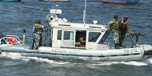 Kenya Navy Special Boat Unit commandos in a RBS Defender boat