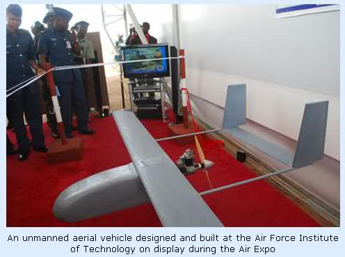 At the AIR EXPO 2010: AMEBO-1,a drone manufactured by the Nigerian Air Force Institute of Technology