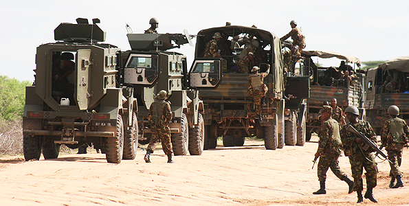 Kenya Army trucks and OTT Puma M26 MRAPs
