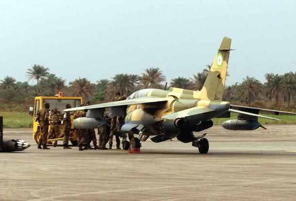 A Nigerian Air Force Alpha Jet deployed for ECOMOG operations at the Lungi Airport,Sierra Leone 1999