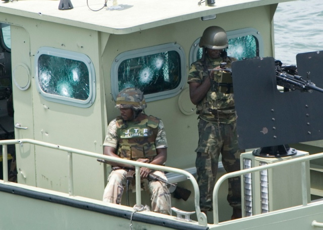 JTF amphibious forces inside a Stingray landing craft in the Niger Delta
