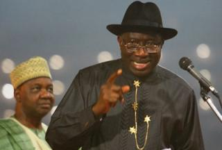 President Goodluck Jonathan and Vice President Namadi Sambo(in the background)