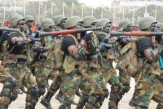 Ghana Army Special Forces Unit march with RPG-7 rocket launchers in tow