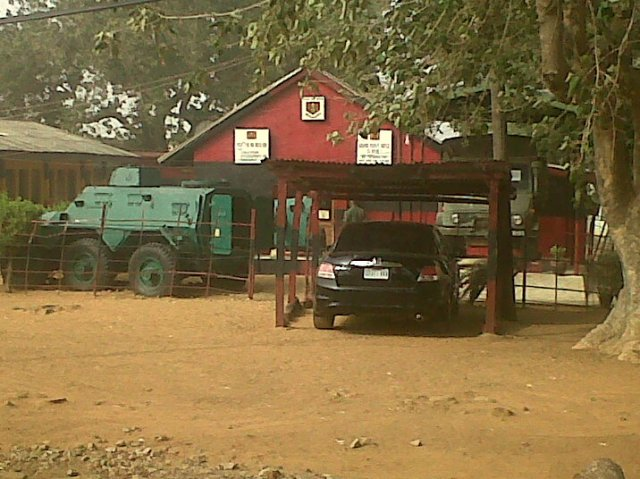 Front view of the Nigerian Army Museum. An Alvis Saracen is seen on the far left.