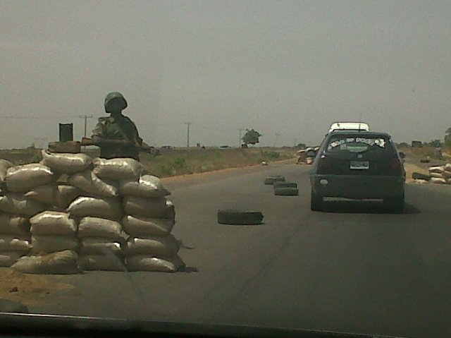 Military checkpoint along the Zaria-Kaduna Expressway, April 2012