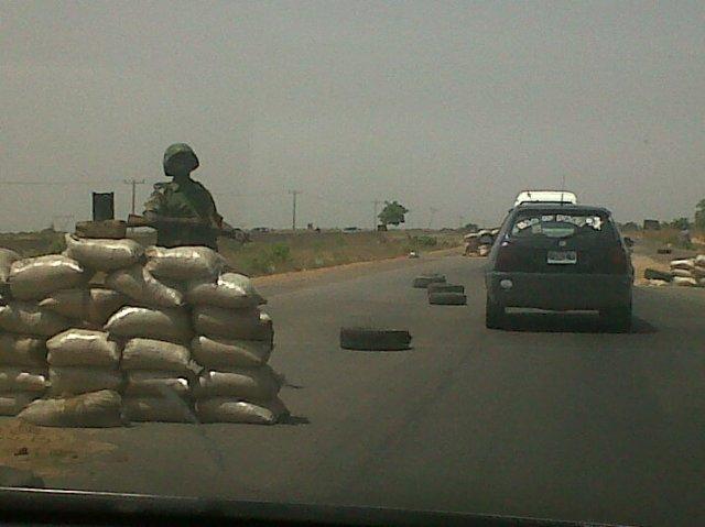Military checkpoint along the Zaria-Kaduna Expressway, April 2012