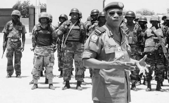 Chief of Defence Staff, Air Chief Marshal Petinrin with JSTF counterinsurgency troops in NE Nigeria