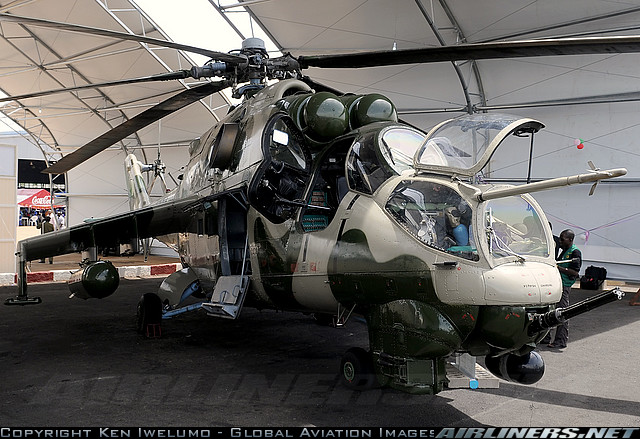 A Nigerian Air Force Mi-24 Hind attack helicopter