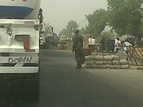 Military checkpoint on the Zaria-Kaduna Expressway