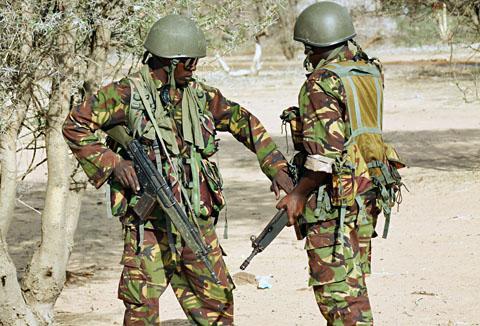 Kenya Army troops at the Liboi border post