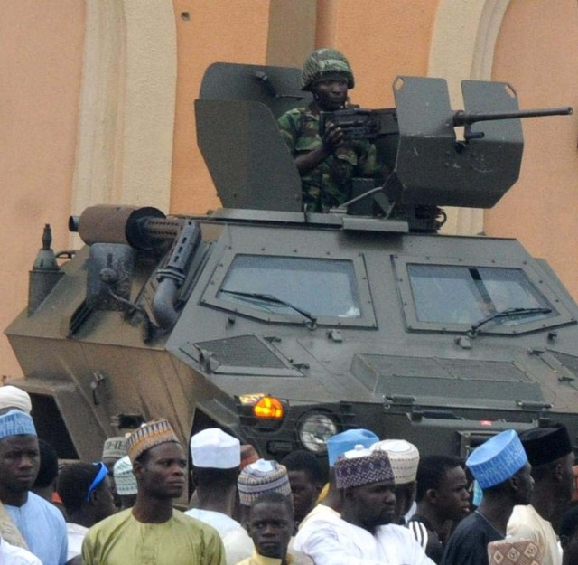 An imposing 12.7mm HMG-armed Otokar Cobra APC on urban CT-COIN operations in NE Nigeria
