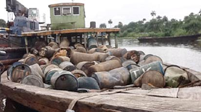 Seized bunkering vessel(aka 'Cotonou boat') used for conveying barrels by oil racketeers