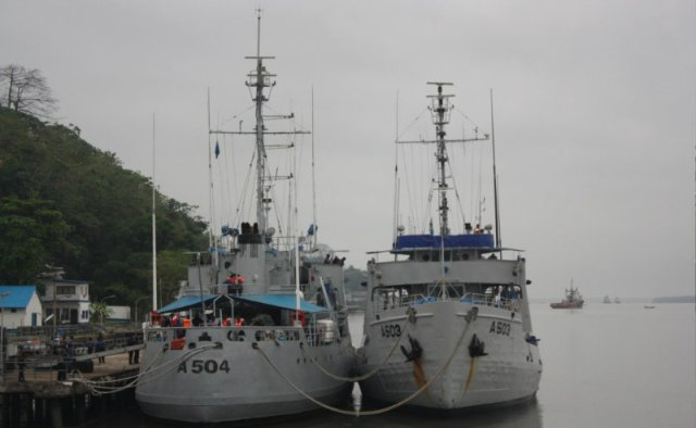 Two of the Nigerian Navy's Cat class logistics ships, donated by the USCG