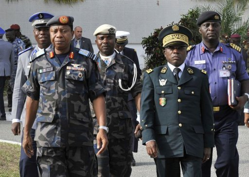 Chairman, ECOWAS Defence Chiefs Gen Soumahila Bakayoko(r) with Air Chief Marshal Petinrin of Nigeria