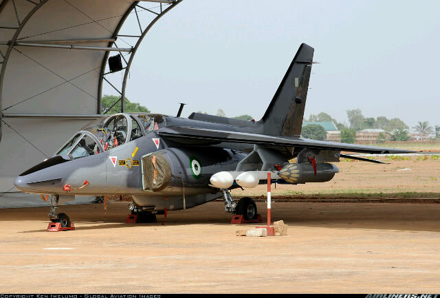 An upgraded Nigerian Air Force Alpha Jet, NAF 465