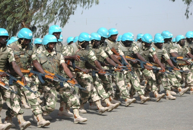 Nigerian peacekeepers on pre-deployment training at the Nigerian Army Peacekeeping Centre, Jaji