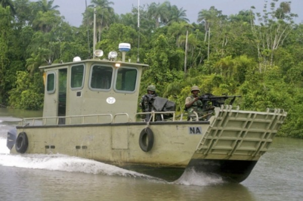 Nigerian Army Amphibious Forces of the JTF patrol the creeks of the Niger Delta