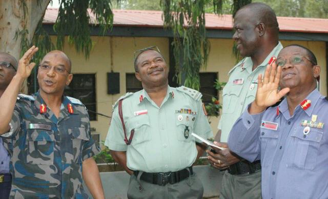 L-R AVM Mu'Azu, Brig.Gen Nsor Ojiji, Brig.Gen Yahaya Gaiya and Rear Adm. Duke Osuafa