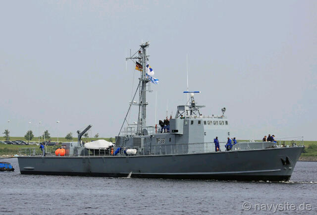 The decommissioned ex-German Type 143A FAC, GNS Yaa Asantewaa P38 on sea trials