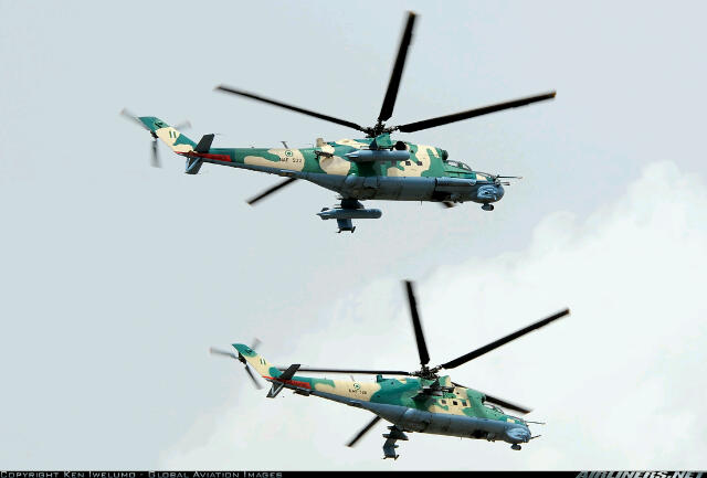 Mi-35P with 30mms cannon on the starboard side(above) and Mi-24V with nose+mounted 23mm cannons