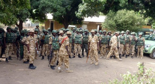 Troops and Police Mobile Force(MOPOL)cops of the Special Task Force in Jos