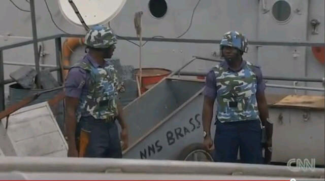 Combative seamen onboard NNS Brass, a Nigerian Navy ship commissioned in 1976