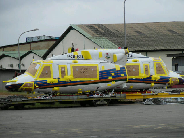Freshly delivered Bell 412EP helicopters in Lagos, 23 August 2012