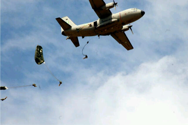 Nigerian Army paratroopers jump off an Alenia G222 plane during 'NADCEL 2012' at Jaji