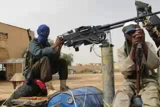 Malian terrorists onboard a gun-truck(aka 'technical')