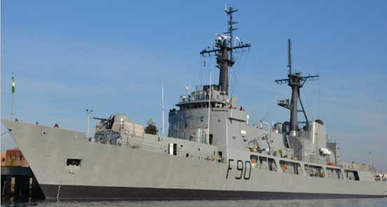 NNS Thunder F90 sails into Nigerian waters from the USA, January 2012
