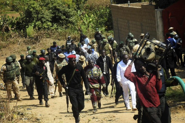 Red berets of the Nigeria Police Anti Terrorism Squad and soldiers on Special Task Force duties in JOS