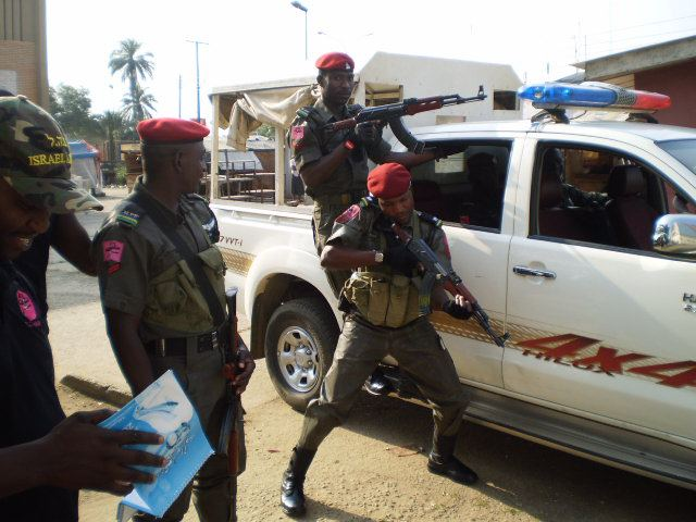 Men of the Nigeria Police Anti Terrorism Squad get ready to roll