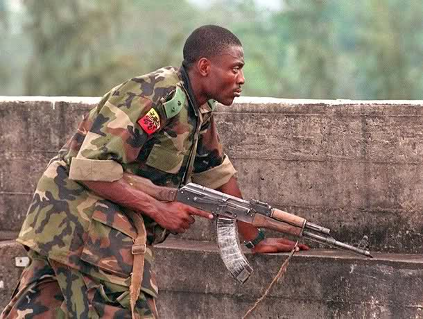 Today's Lt.Colonel Alechenu as a warrior Lieutenant in Sierra Leone, fifteen years ago