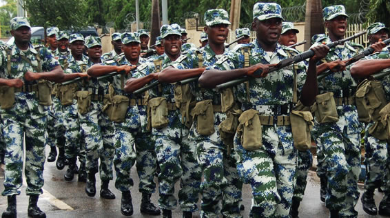 NIGERIAN NAVY PERSONNEL DRESSED IN THEIR NEW CAMOUFLAGE UNIFORM