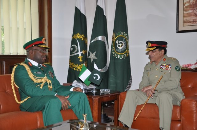 COAS Nigerian Army, Lt General Onyeabo Azubuike Ihejirika discusses CTCOIN matters with COAS Pakistan Army, General Ashfaq Pervez Kayani at General Headquarters in Rawalpindi, Pakistan